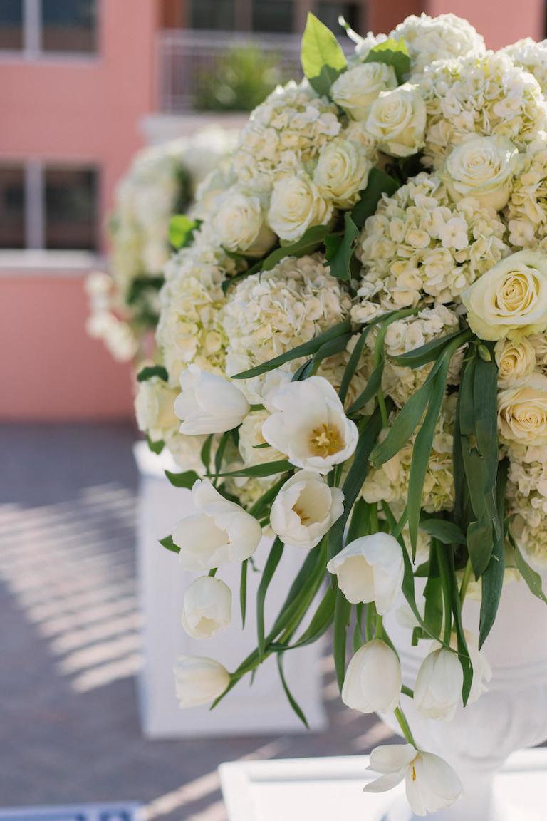 Classic, Elegant White Wedding Ceremony Decor Flowers on Pedestal