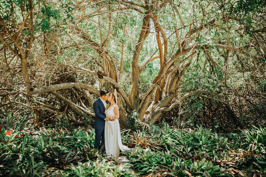 Bride and Groom Traditional Vietnamese Wedding Portrait in the Woods | Tampa Bay Wedding Photographer Rad Red Creative