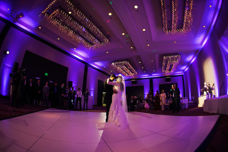 Bride and Groom First Dance at Elegant Ballroom Wedding Reception | Tampa Hotel Wedding Venue Hilton Downtown | Wedding Photographer Limelight Photography