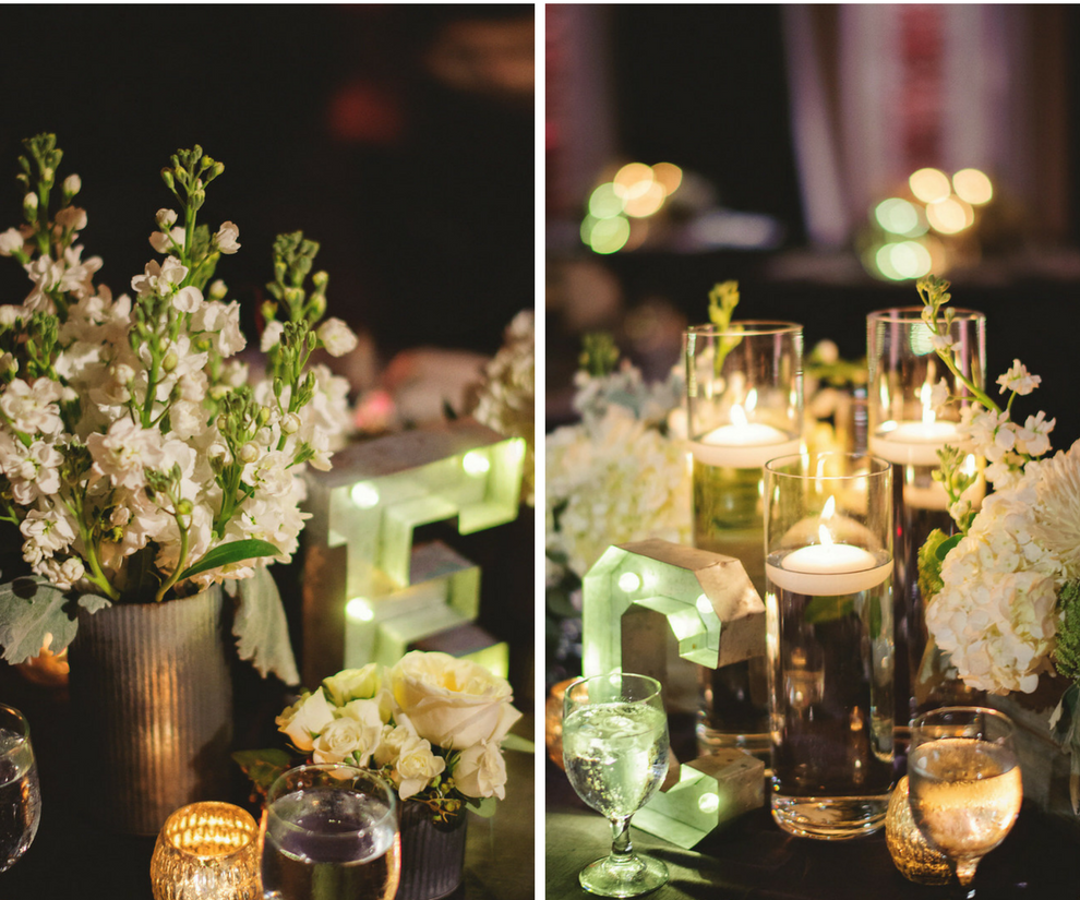 Flowers With Floating Candle Centerpieces