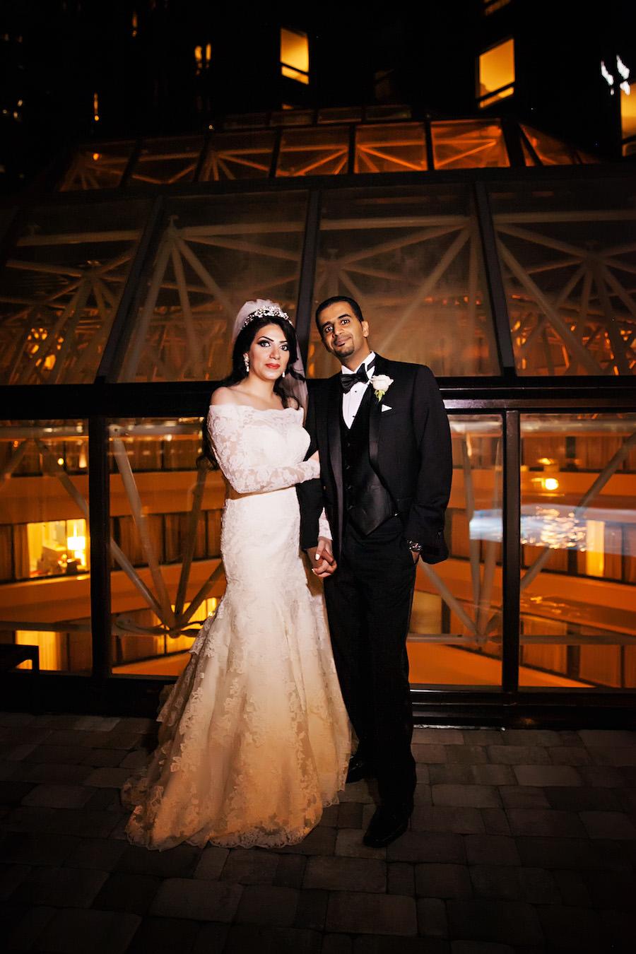 Elegant Nighttime Indian Bride and Groom Wedding Portrait | Downtown Tampa Hotel Wedding Venue Hilton Downtown | Wedding Photographer Limelight Photography