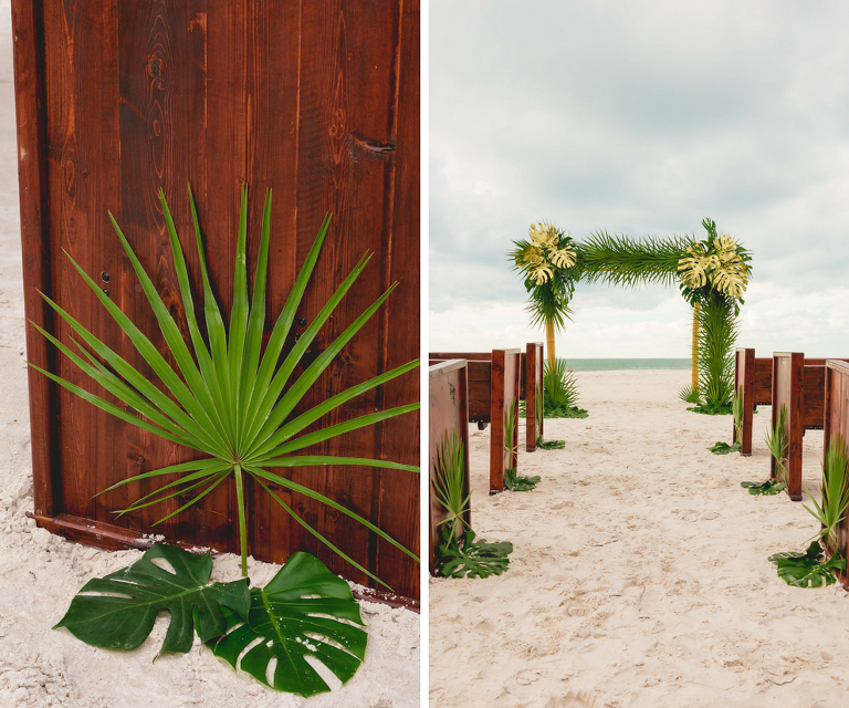 Oceanfront Tampa Bay Wedding Ceremony with Wooden Church Pews and Tropical Palm Bamboo Altar | Waterfront Wedding Venue Hilton Clearwater Beach | Rentals A Chair Affair