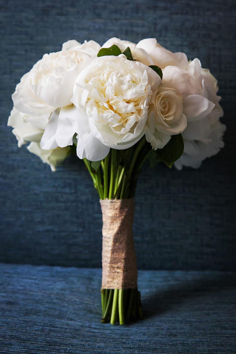 Elegant Traditional Classic White Ivory Peony Wedding Bouquet