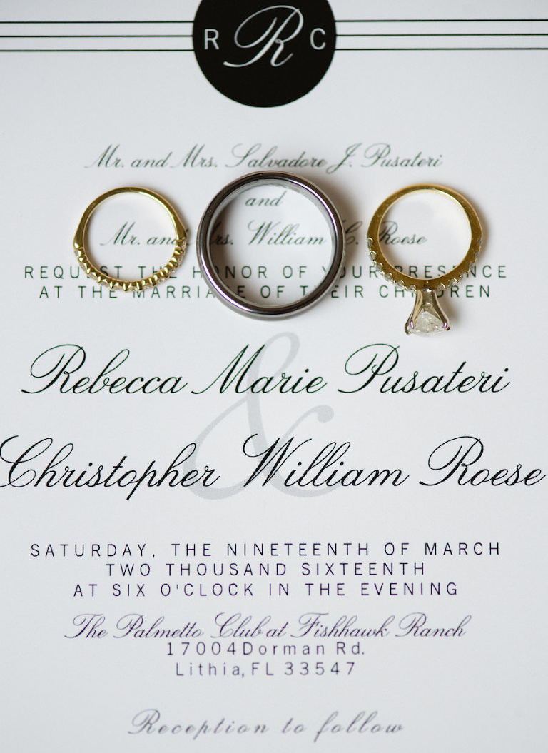 Elegant, Modern Black and White Wedding Invitation with Wedding Rings