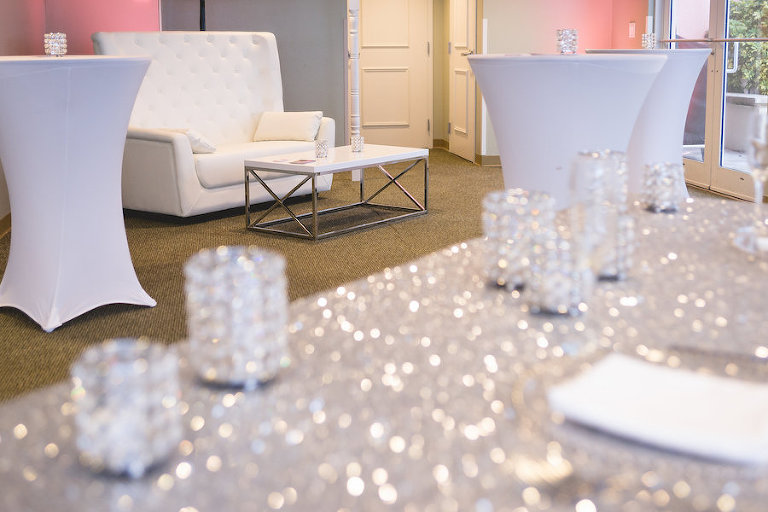 Silver Sparkle Sequined Linens with White Lounge Furniture | Tampa Bay Wedding Rentals Gabro Event Services