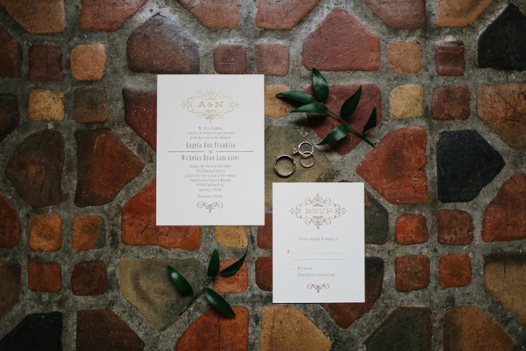 Elegant Gold Foil Wedding Invitation Stationery and Ring Portrait