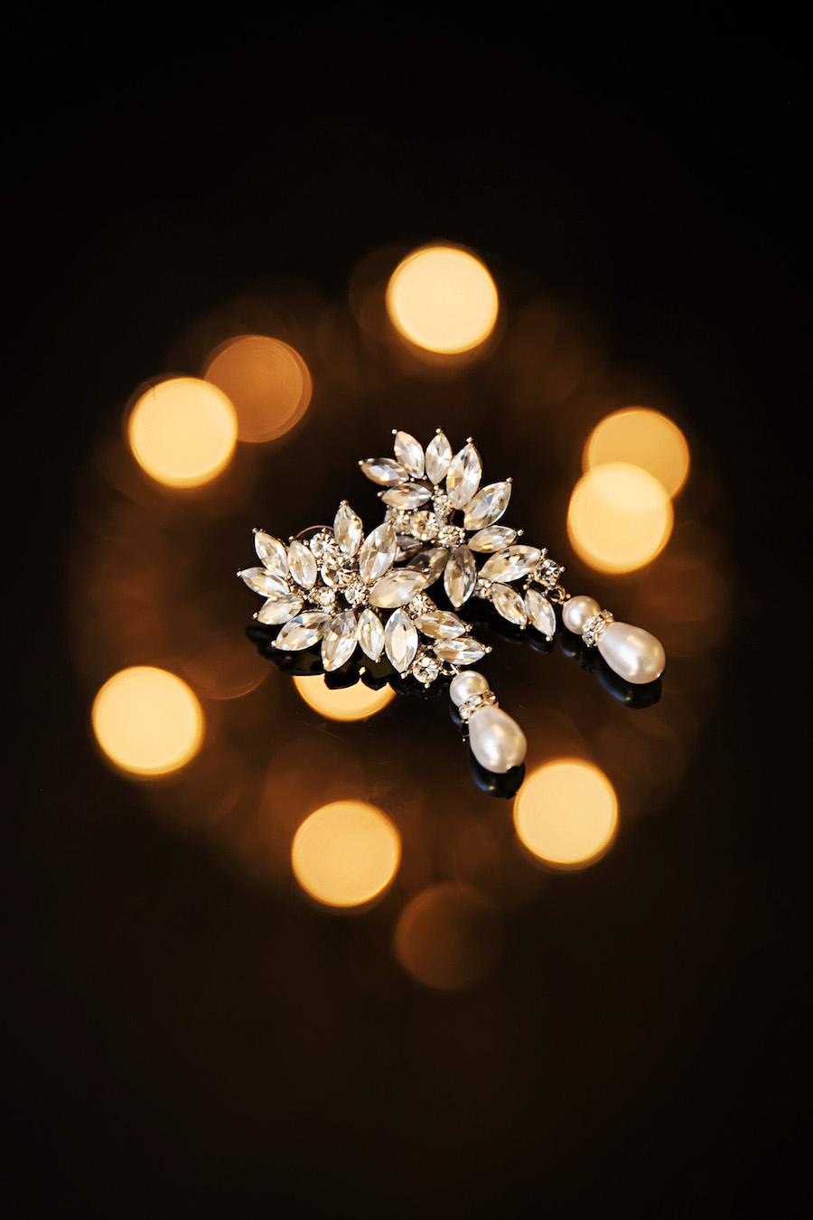 Crystal, Rhinestone Diamond Drop Wedding Jewelry Earrings with Pearls