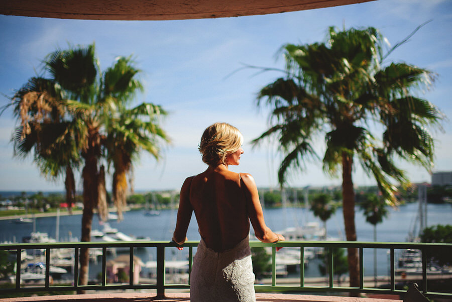 Bridal Wedding Portrait in Ivory Lace Backless Katie May Wedding Dress in Downtown St. Pete