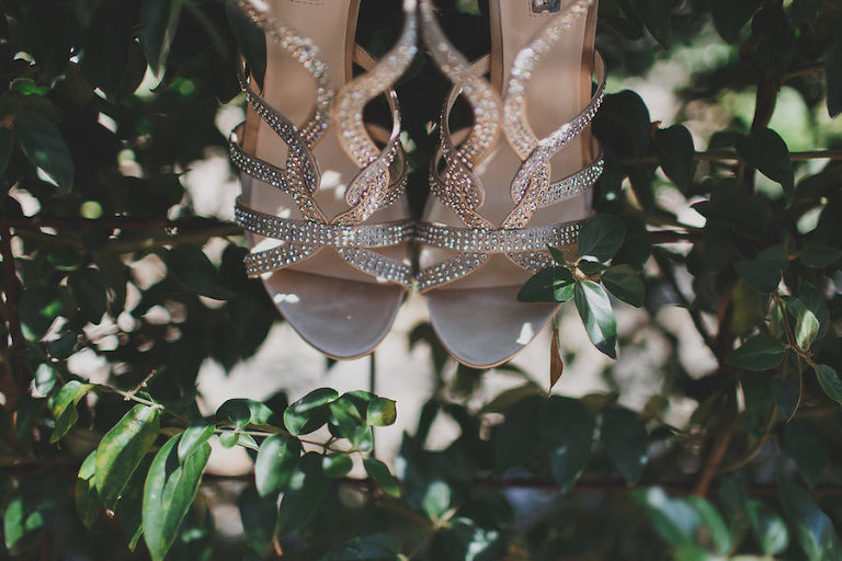 Strappy Nude Open Toe Wedding Shoes with Rhinestones