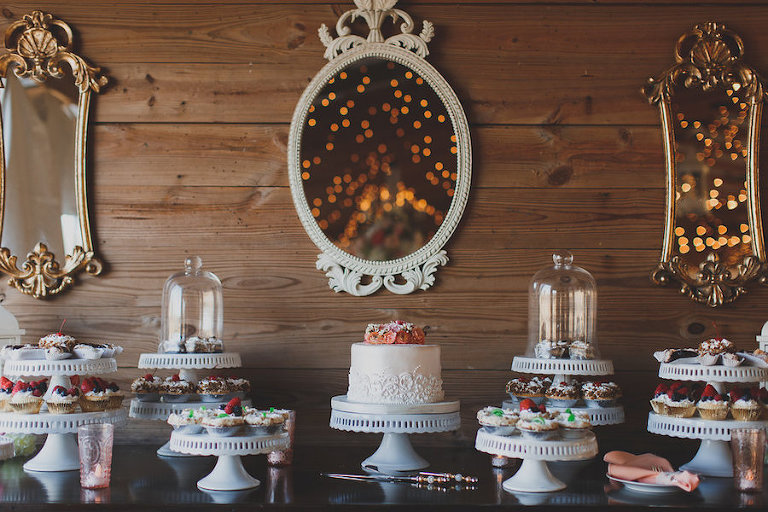 Mini Baked Goods And Small Wedding Cake Topper For Dessert Table Rustic