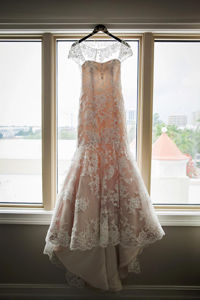 Blush Ivory Beaded Wedding Dress with Straps on Mrs Last Name Hanger