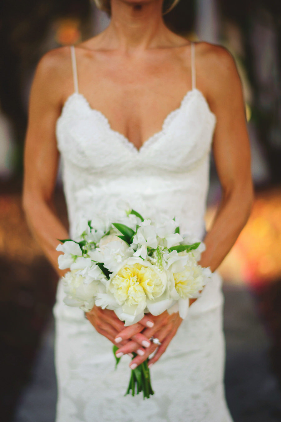 Bridal Wedding Portrait in Ivory Lace Katie May Wedding Dress with Spaghetti Straps and Elegant Ivory Wedding Bouquet of Ivory Peonies and Greenery | St. Petersburg Wedding Florist Iza's Flowers