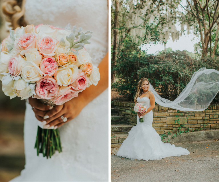 Peach, Pink Blush and White Bridal Wedding Bouquet | Tampa Bay Wedding Photographer Rad Red Creative