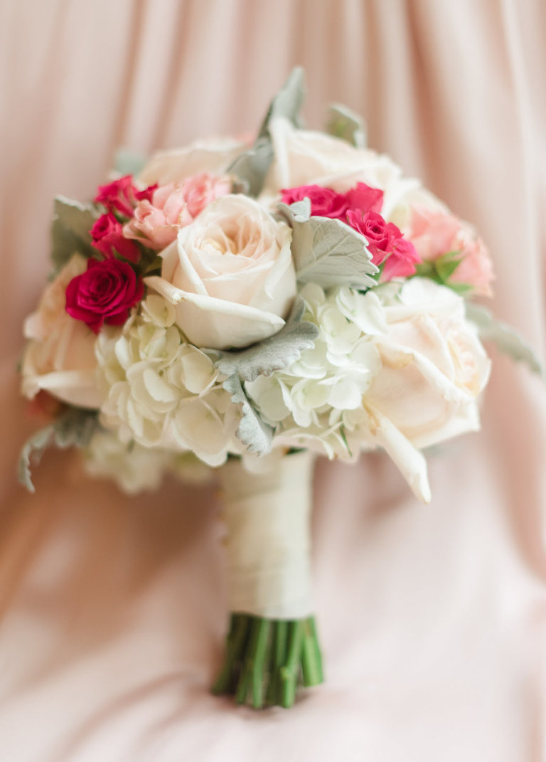 Blush Pink, White and Hot Pink Fuchsia Wedding Bouquet with Succulents