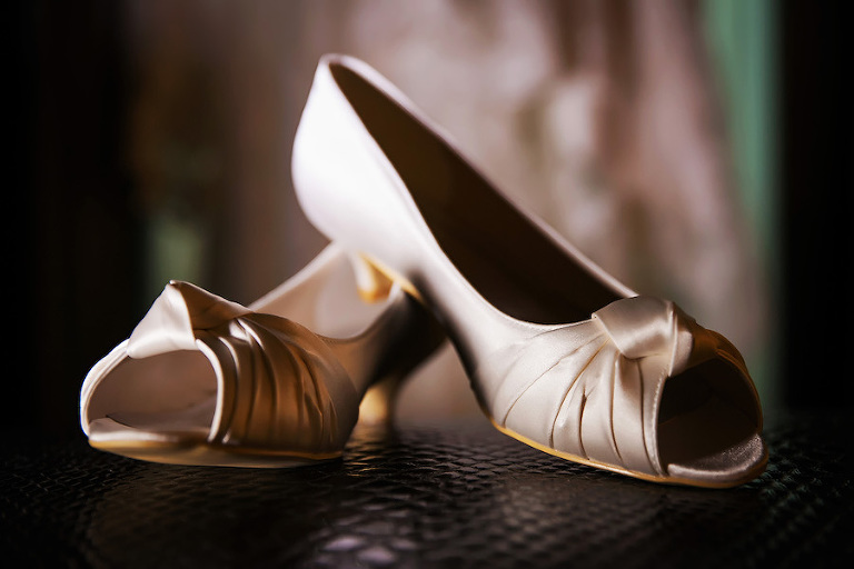 Ivory, Tan Satin, Peep Toe Bridal Wedding Shoes