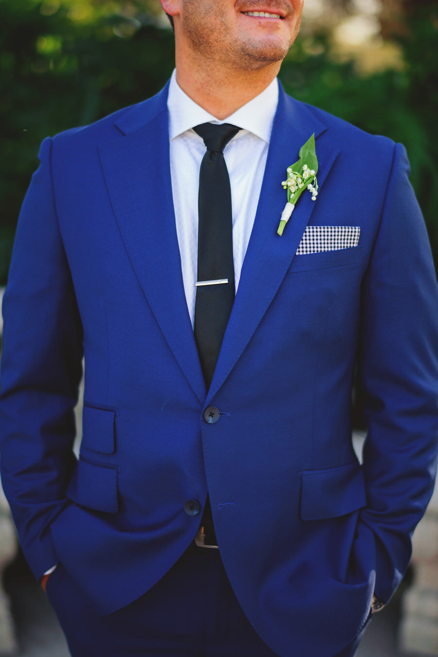 Groom Wedding Portrait in Blue Suit with Checkered Pocket Square