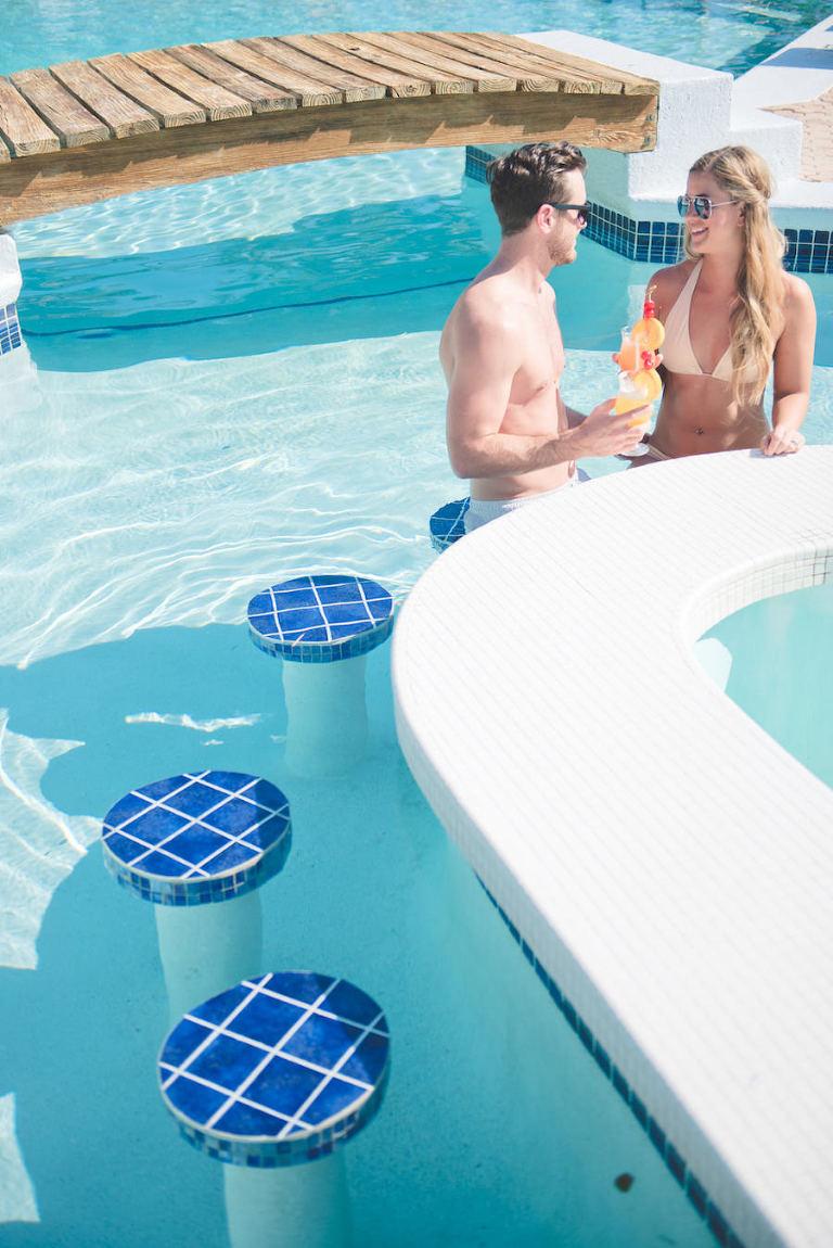 Bahamas Destination Beach Caribbean Wedding & Honeymoon at Poolside Bar   Aisle Society Weddings Abaco Beach Resort Pool