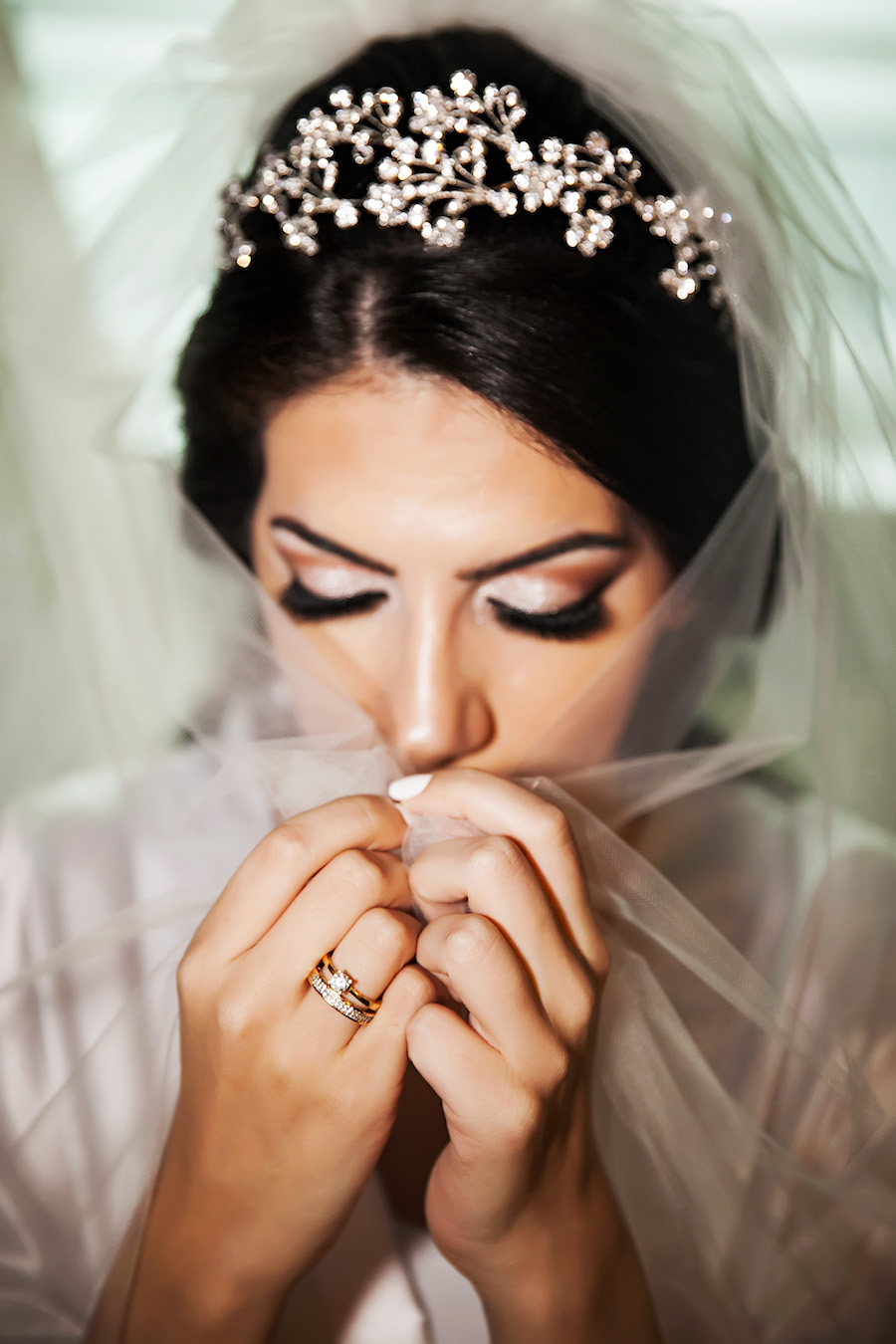 Indian Bridal Hair and Makeup Portrait with Veil | Downtown Tampa Wedding Photographer Limelight Photography