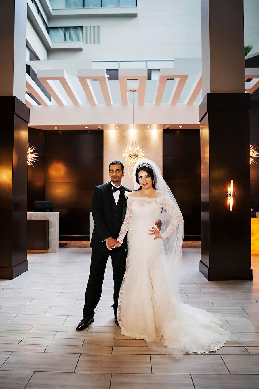 Elegant Indian Bride and Groom Wedding Portrait | Downtown Tampa Hotel Wedding Venue Hilton Downtown | Wedding Photographer Limelight Photography