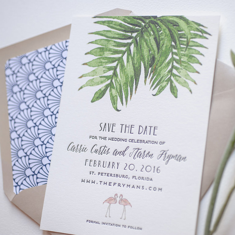Letterpress Tropical Palm Tree Florida Inspired Save the Date Wedding Invitations | St. Petersburg Wedding Invitation Designer A&P Design Co.