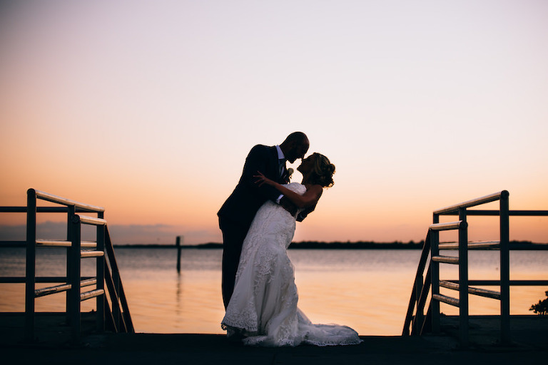 Tampa Bay Sunset Bride and Groom Wedding Portrait | Tampa Bay Waterfront Wedding Venue Safety Harbor Resort and Spa