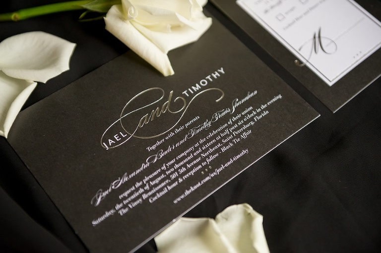 Black, Silver and White Elegant Modern Wedding Invitation Suite