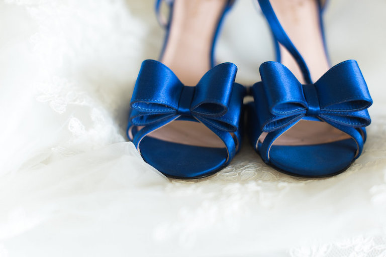 Blue Satin Wedding Shoes | Wedding Getting Ready Details | St. Pete Wedding Photographer Caroline and Evan Photography