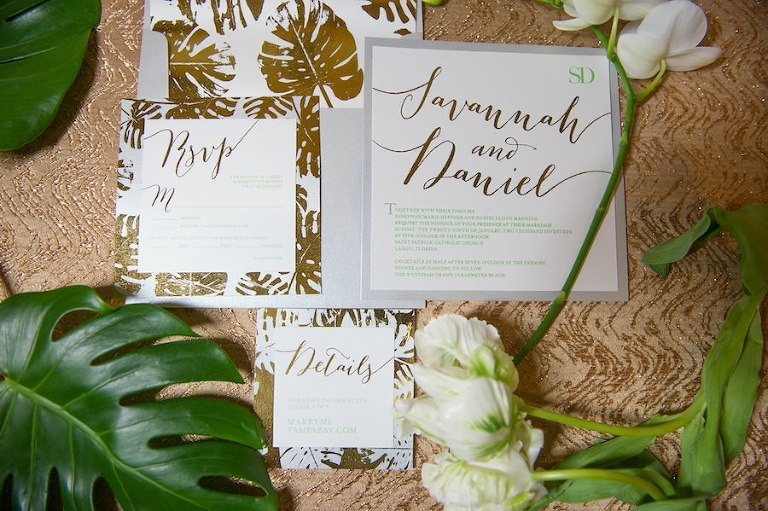 Modern and Elegant Grey and Gold Florida Inspired Palm Leaf Wedding Invitation Suite