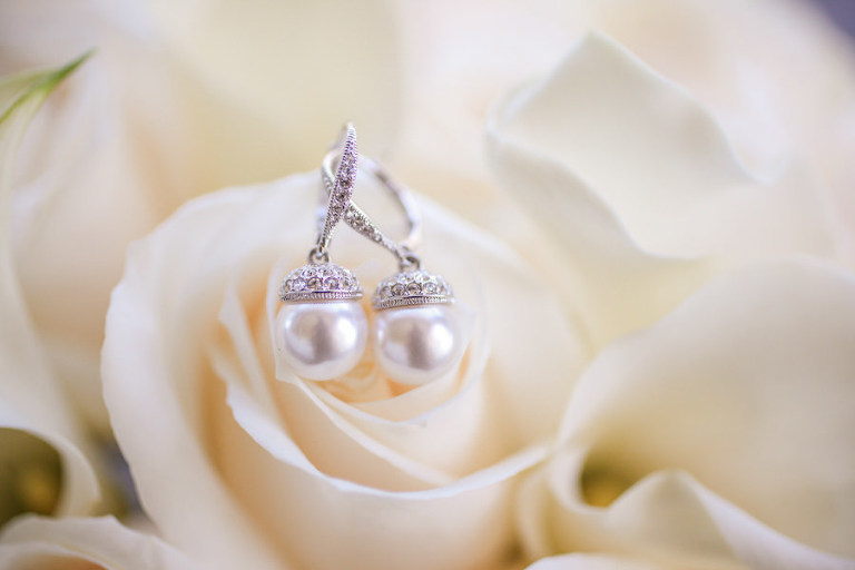 Pearl Drop Bridal Earrings Detail in White Rose