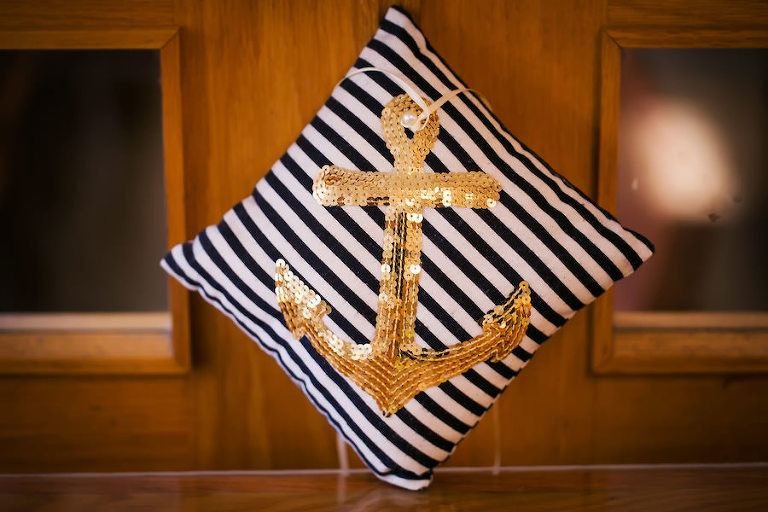 Nautical Anchor Pillow | Navy Blue and White Wedding Decor Inspiration