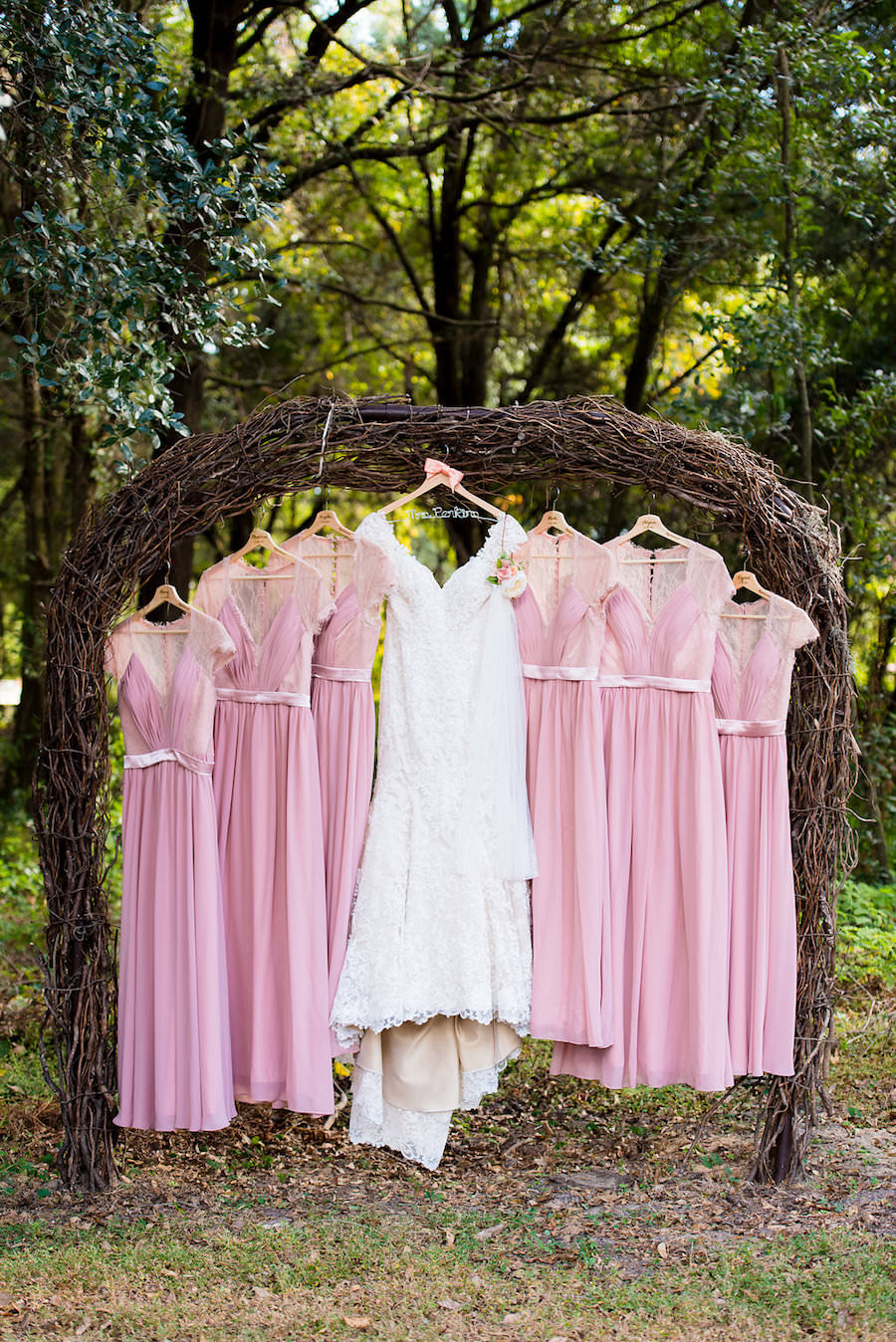 Blush Pink Bridesmaids Dress with Wedding Gown Portrait | Wedding ...