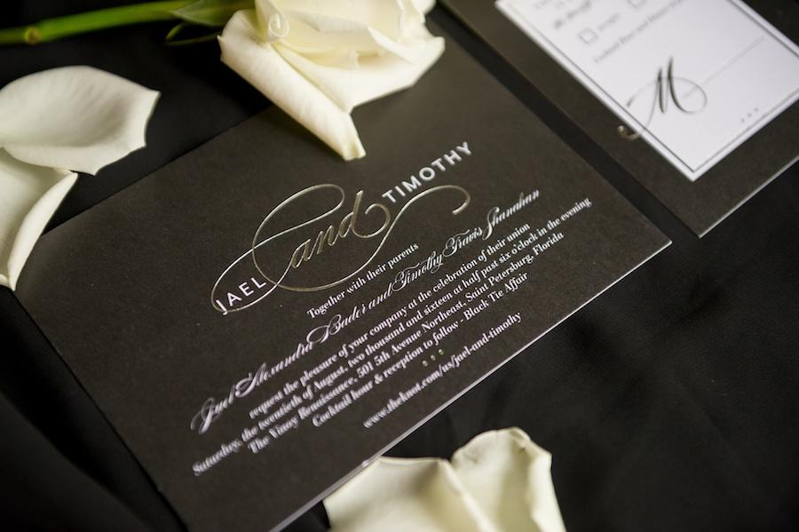 Black, Silver and White Elegant Modern Wedding Invitation Suite