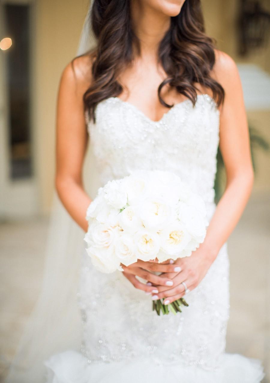 Bridal Wedding Portrait in White Beaded Lazaro Wedding Gown with Ivory Peony Wedding Bouquet