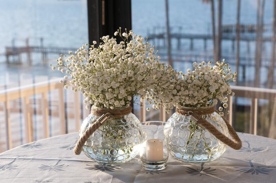 Baby's Breath Floral Centerpieces at Dunedin Waterfront Wedding Reception Venue Beso Del Sol
