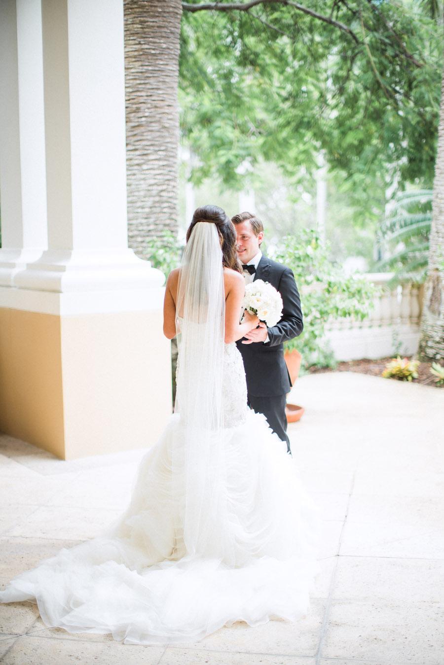Sarasota Bride and Groom First Look Wedding Portrait