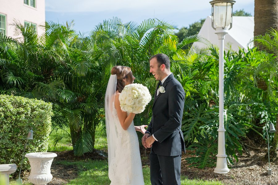 Bride and Groom Outdoor St. Pete Wedding First Look Portrait | St. Petersburg Wedding Photographer Andi Diamond Photography