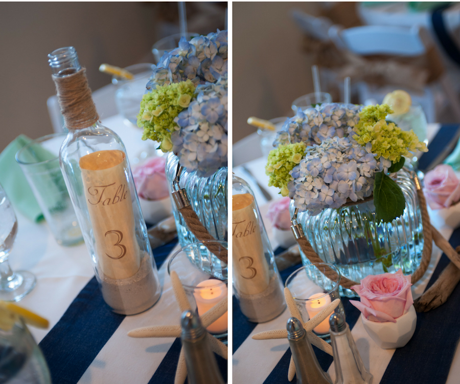 Blue and Green Hydrangea Floral Wedding Centerpieces and Wine Bottle and Cork Table Numbers