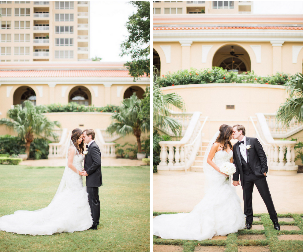 Bride and Groom Wedding Day Portrait   Sarasota Hotel Ballroom Wedding Venue Ritz Carlton