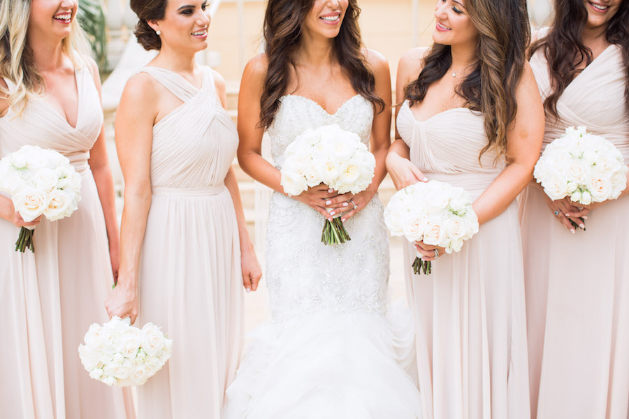 Champagne Chiffon Watters Wtoo Bridesmaid Dresses and White Sweetheart Trumpet Style Lazaro Wedding Dress with Horsehair Skirt and Ivory Peony Wedding Bouquet