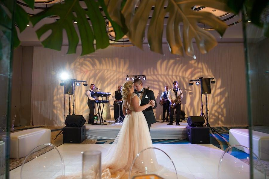 Modern Gold South Beach Inspired Wedding Reception Decor   Clearwater Beach Wedding Venue Wyndham Grand   Wedding Planner Parties a la Carte   Andi Diamond Photography