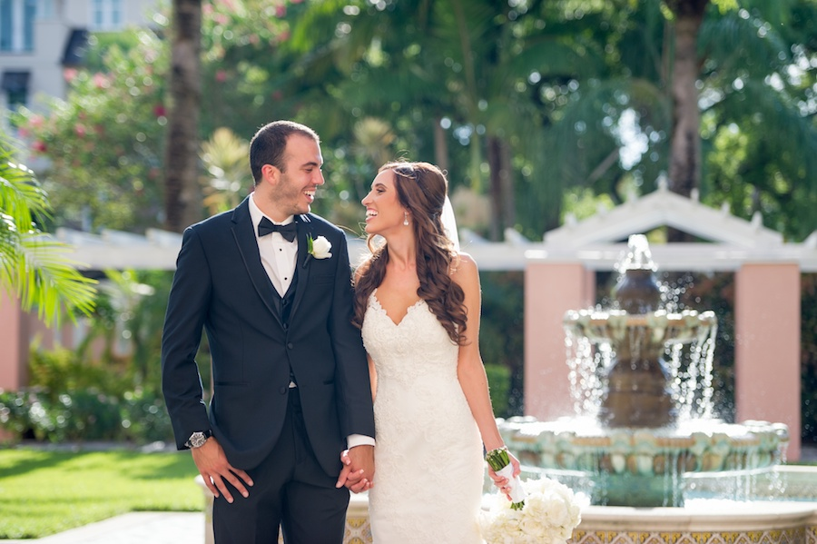 Bride and Groom Outdoor St. Pete Wedding Portrait at Vinoy Renaissance by Fountain | St. Petersburg Wedding Photographer Andi Diamond Photography