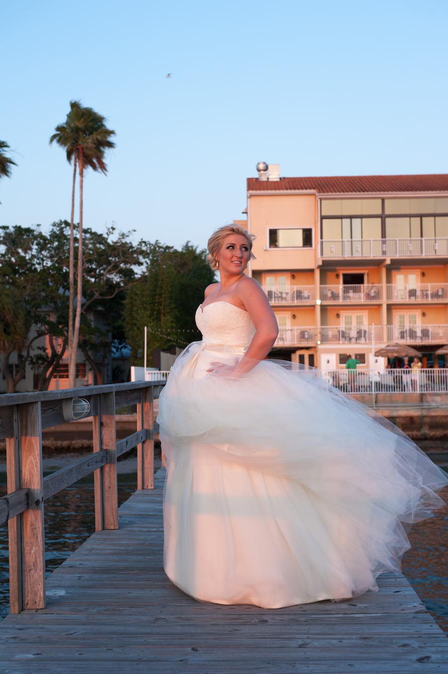 Outdoor, Bridal Wedding Portrait on Dock at Waterfront Dunedin Wedding Venue Beso Del Sol