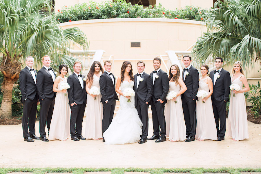 Outdoor Bridal Party Wedding Portrait   Champagne Chiffon Watters Wtoo Bridesmaid Dresses and White Sweetheart Trumpet Style Lazaro Wedding Dress with Ivory Wedding Bouquet