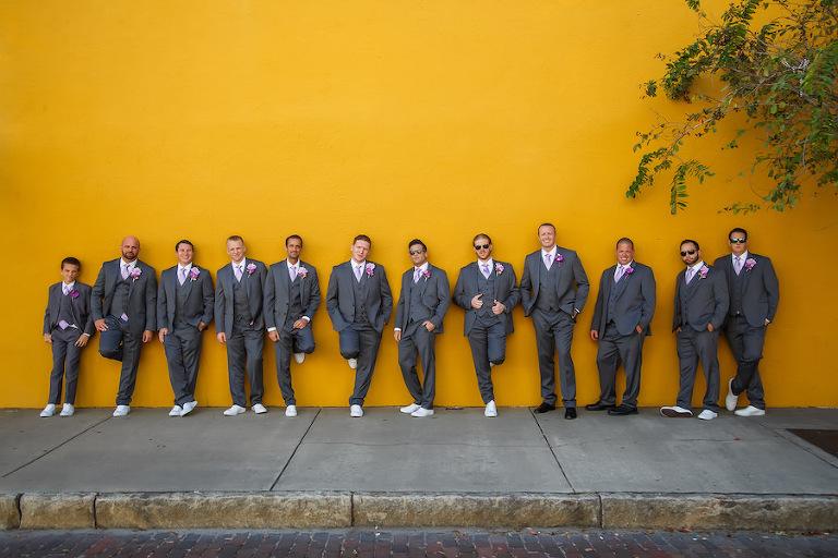 Groomsmen Wedding Party Portrait in Grey Suits   Brian C Idocks Photographics