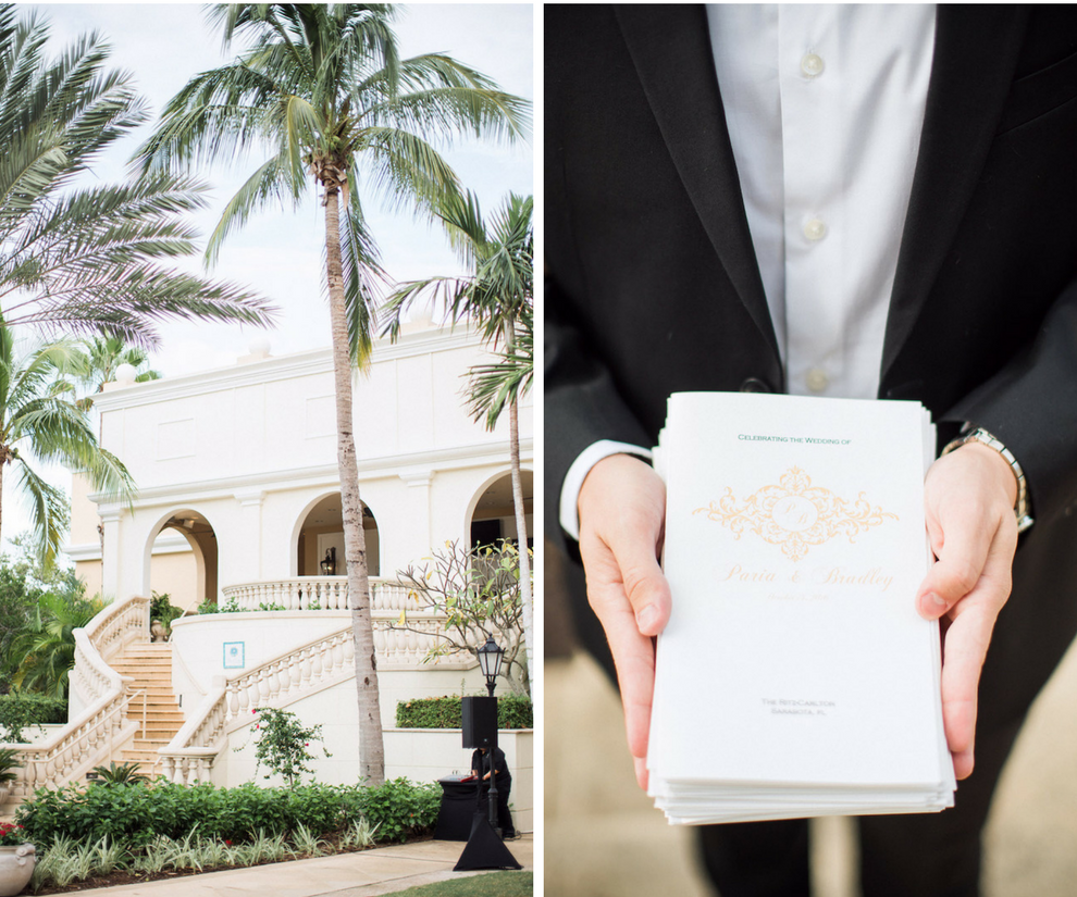 Outdoor Wedding Ceremony at The Ritz Carlton Sarasota with Ivory and Gold Wedding Ceremony Programs   Sarasota Stationery Shop Invitation Galleria