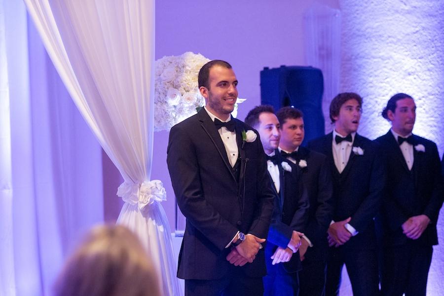 Groom and Groomsmen during Wedding Ceremony with White Drapery | St Pete Wedding Ceremony Vinoy Renaissance