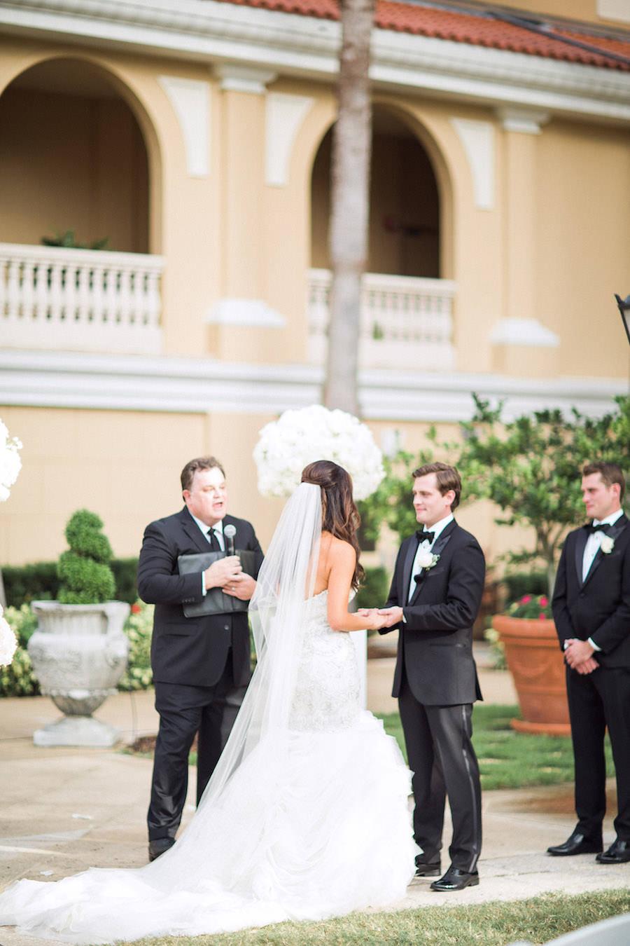 Elegant, Outdoor Wedding Ceremony Bride and Groom Portrait