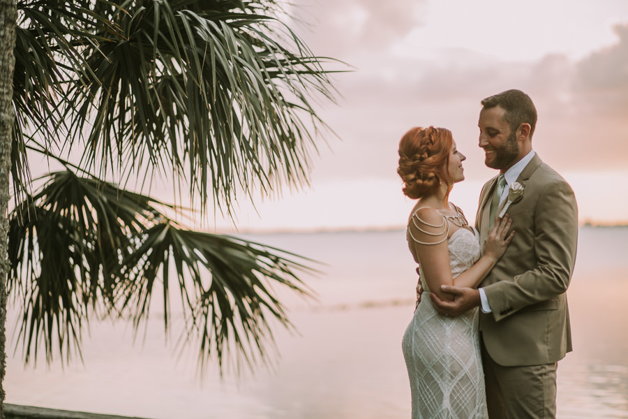 Florida Bride and Groom Waterfront Sunset Wedding Portrait | Sarasota Wedding Photographer Brandi Image Photography