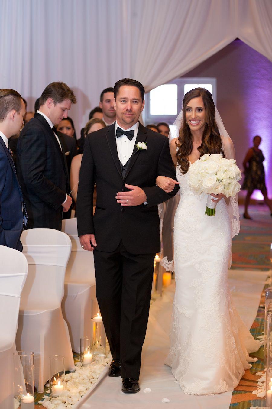 Bride Walking Down the Aisle Wedding Portrait | St. Pete Wedding Ceremony at Vinoy Renaissance