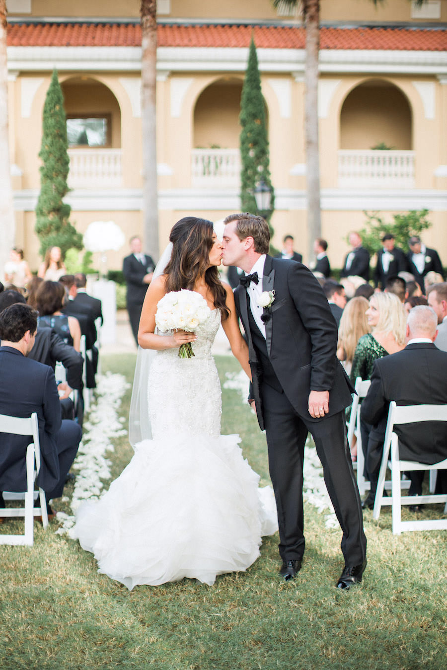 Elegant, Outdoor Wedding Ceremony Bride and Groom Portrait in Sarasota FL
